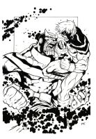 """Thanos and Marvel"" Ink by Yangsberg"