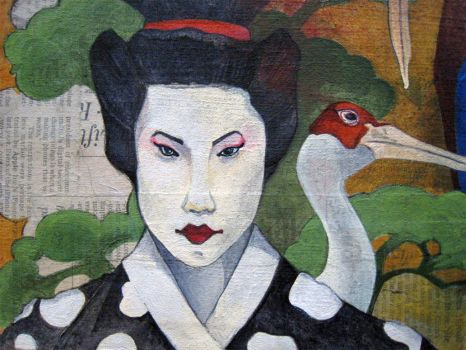 geishas on newsprint_detail by madhs