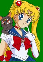 Original Sailor Moon with Luna by ParamourPhoenix
