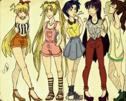 Sailor Scouts Fashion by CookiexFweak