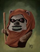 Ewok caricature by HauntedPen