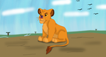 Simba with Butterfly by SolitaryGrayWolf