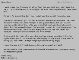 Katniss's letter to Mags by hglover210