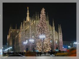 Milan Cathedral and Xmas Tree by Sasa-Van-Goth