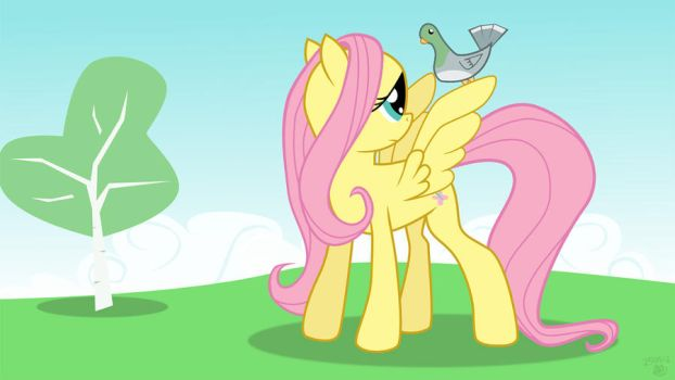Fluttershy and a pigeon by Mafon