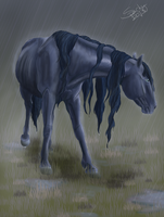 Water Spirit in the Rain by sparkpaw
