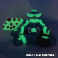 Polymer Clay Robot I Love the Beach Glow Figurine by KIMMIESCLAYKREATIONS