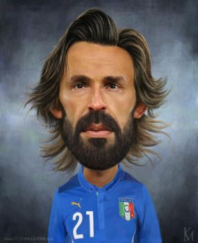 ANDREA PIRLO CARICATURE by kevmcgivernart