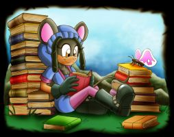 Commission: Spring reading by zeiram0034