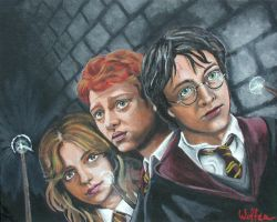 Hermione, Ron, and Harry by WolfenM