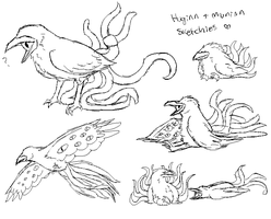 Huginn And Muninn Sketchies by TheseWeirdFishes