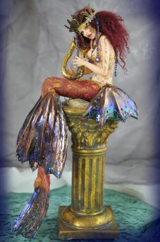 Mermaid playing harp sculpture by SutherlandArt