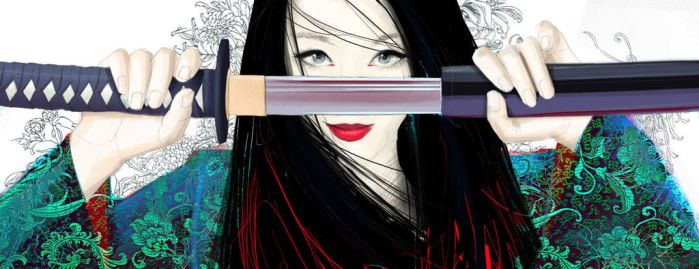 Girl with katana by Cllaud