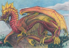 Red-Golden Dragon by Sheranuva