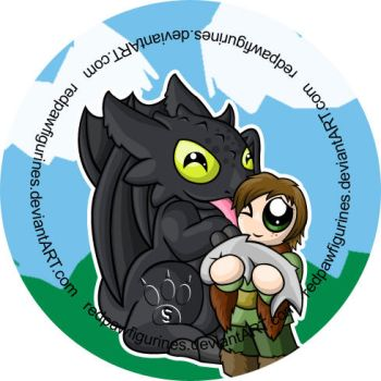 Toothless and Hiccup Chibi Badge by RedPawDesigns