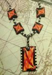 Orange Abstract Tiger Lily Necklace by boogeybug