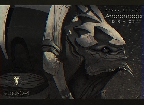 Mass Effect Andromeda Drack [Grayscale] by Lady-Owl
