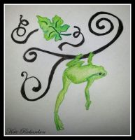 Tattoo design of tree frog on vine. by DesignKReations