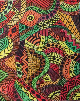 African pattern - Fire and Life by Shamancreations