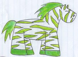 Green Cartoon Zebra by panhead121