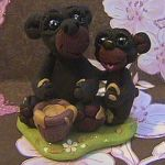 polymer clay black bear aurora by crazylittlecritters