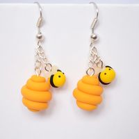 Cute Polymer Clay Bumblebee + Beehive Earrings by Linnypig