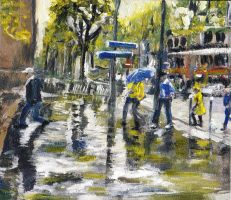 Paris Street Sketch in The Rain by RandySprout
