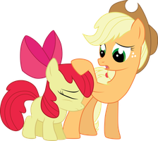 Applebloom and Applejack by Jay-Kuro