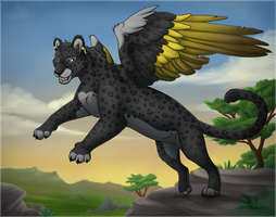 Catwing - Panther form by Catbirdwoman