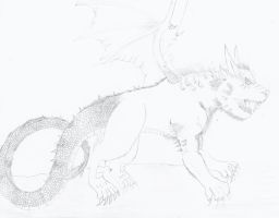 Mixed Mythical Monster Sketch 1 by NINJAWERETIGER