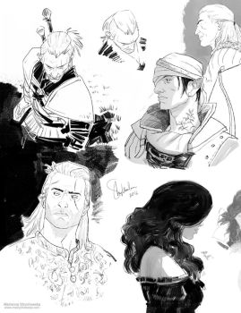 The Witcher sketch dump by mstrychowska