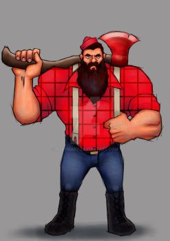 LumberJack with Babe, the Axe by RudyMary