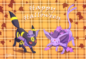 Espeon and Umbreon Halloween by snuddi