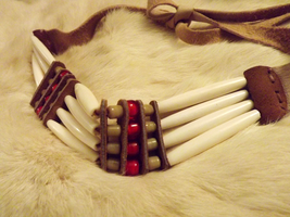 Red white heart accent 1800's Regalia, closeup by jugga-lizzle