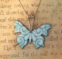 Ornate Enamel Butterfly Sterling Blue White by FusedElegance