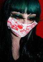 Green hair colorful crazy makeup mask girl by cherrybomb-81
