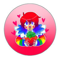 Rainbow Laughing Jack Valentine (BUTTON FOR SALE) by sonyasoniclover12
