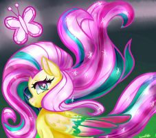 Rainbow-Powered Fluttershy by EaterofLife