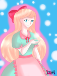 ArtTrade_The girl with cotton candy hair by Music-X-Rose