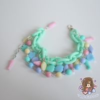 Chunky Minty and Rainbow Seaside Charm Bracelet by PeppermintPuff