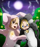 Comm: Halloween Night for the Rabbit and Cat by Detoreik
