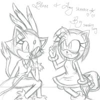 Blaze And Amy Sketch by StarblissSong