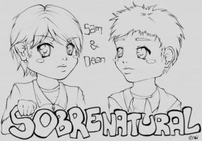 Sam and Dean Lineart by Mrs-Motherfucker