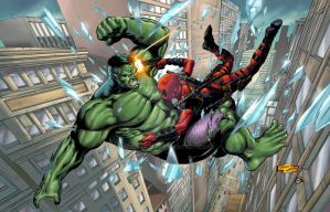 Hulk vs Deadpool by spidey0318