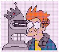 Bender and Fry in Riverdale - cross stitch pattern by NurseTab