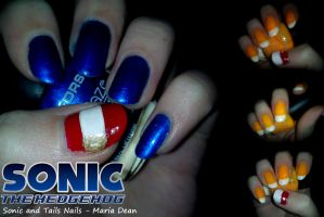 Sonic and Tails Nails by kosmo1995