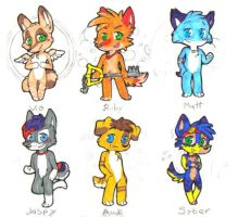 Chibi Badge Set 1 - Sketch by PureRubyDragon