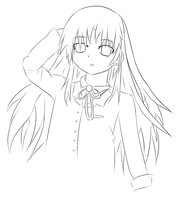 Kanade Tachibana -Lineart- by fighterkirby1998