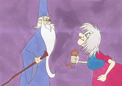 Merlin and Madam Mim by silverben