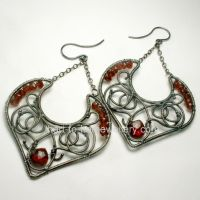 Red Garnet Argentium Wire Wrapped Artisan Earrings by healingcrystaljewel8
